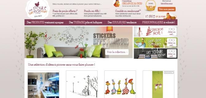 Le nouveau site e-Commerce décoration-maison.fr devient Une poule sur Mon Mur... est en ligne