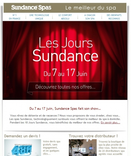 Newsletter Juin Sundance Spas